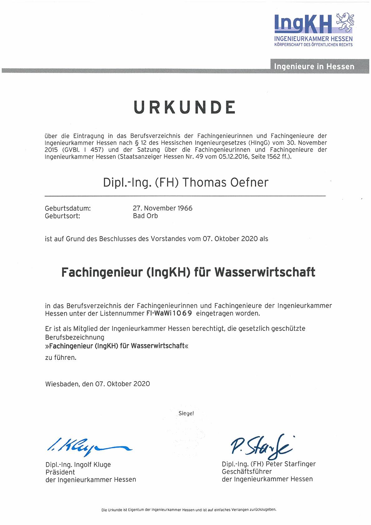 Urkunde Fachingenieure (IngKH) für Wasserwirtschaft Nr. FI-WaWi1069